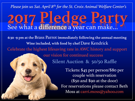 St. Croix Animal Welfare Center's 2017 Pledge Party